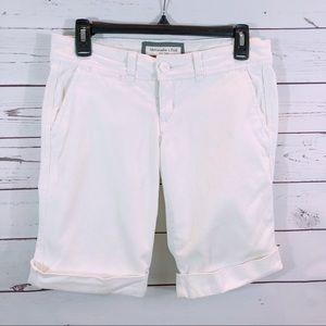 Abercrombie & Fitch White Stretch Bermuda Shorts